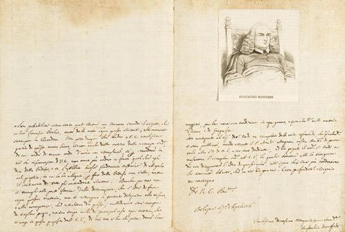 31A: Manfredi, Eustachio. Lettera  autografa firmata.