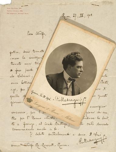 34A: Mascagni, Pietro. Lettera autografa firmata e foto