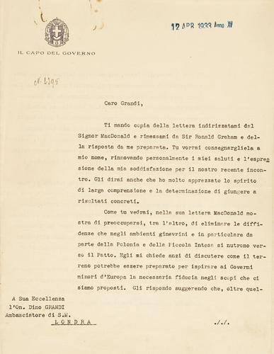 41A: Mussolini, Benito. Dattiloscritto con sottoscrizio