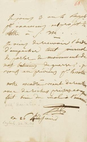 52A: Principe di Beauharnais. Lettera autografa firmata