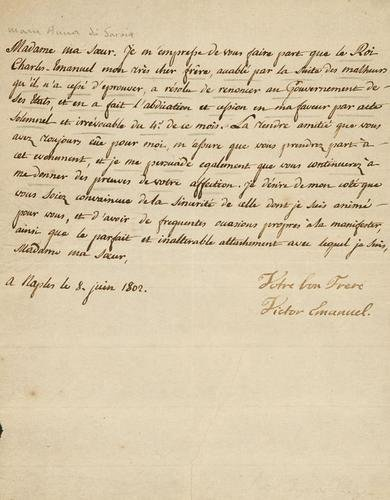 59A: Savoia - Vittorio Emanuele I. Lettera autografa fi
