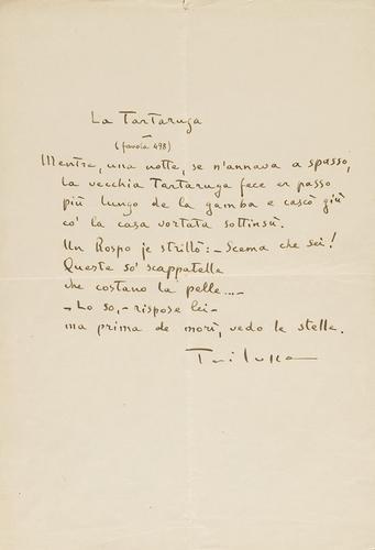 62A: Trilussa (Carlo Alberto Salustri). La Tartaruga (f