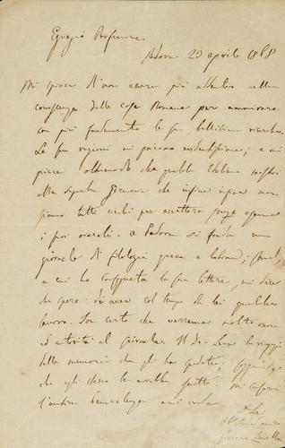 65A: Zanella, Giacomo. Lettera autografa.