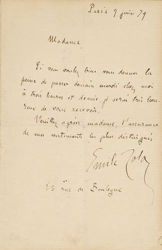 66A: Zola, Emile. Lettera autografa.