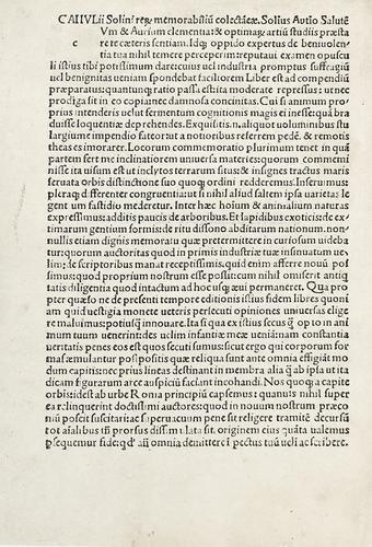 2A: Incunabolo - Solino, Giulio. De memora[bi]libus mu