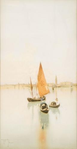 7C: Raffaele Mainella (1856 - 1941) Venezia, gondole e