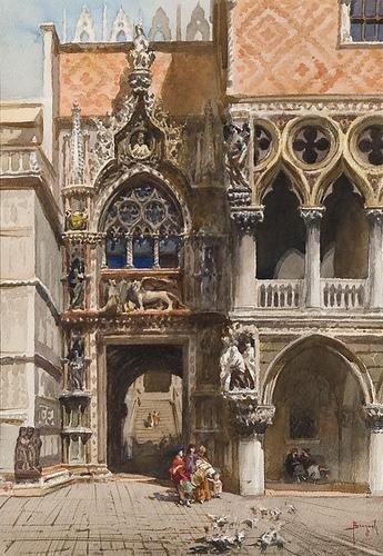 8C: Emanuele Brugnoli (1859 - 1944) Venezia, piazza Sa