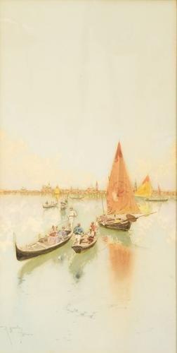 9C: Raffaele Mainella (1856 - 1941) Venezia, gondole e