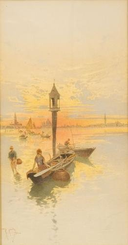 10C: Raffaele Mainella (1856 - 1941) Venezia, tramonto