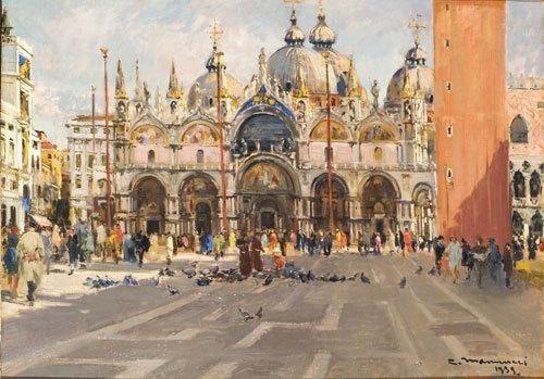 17C: Cipriano Mannucci (1882 - 1970) Venezia, Piazza Sa