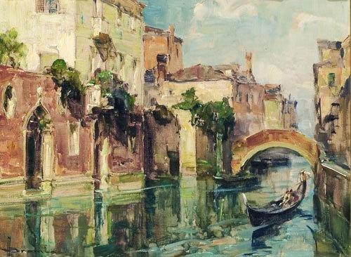 18C: Angelo Brombo (1893 - 1962) In gondola a Venezia