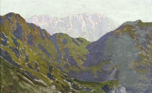 19C: Angelo Morbelli (1853 - 1919) Paesaggio alpino