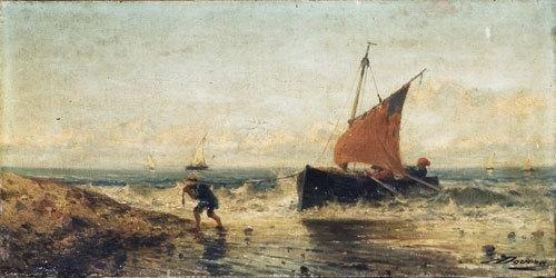 24C: Achille Dovera (1838 - 1895) Il ritorno dalla pesc