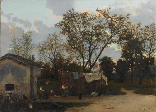 224C: Luigi Nono (1850-1918) Un Pollaio, 1876
