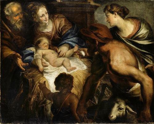 186A: Domenico Piola (Genova 1624 - 1709)  Adorazione d