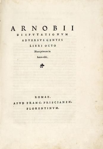 22B: Arnobio, Afer. Disputationum adversus gentes libri