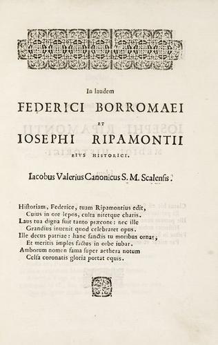 151B: Ripamonti, Giuseppe. Historiae patriae decadis V