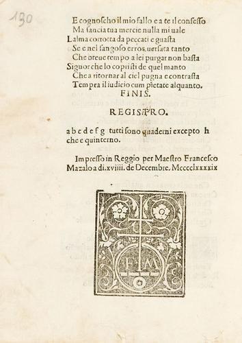 639B: Boiardo, Matteo Maria. Sonetti e Canzoni.