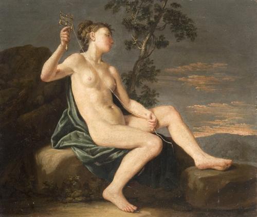 45B: Seguace di Donato Creti Figura mitologica (Lachesi