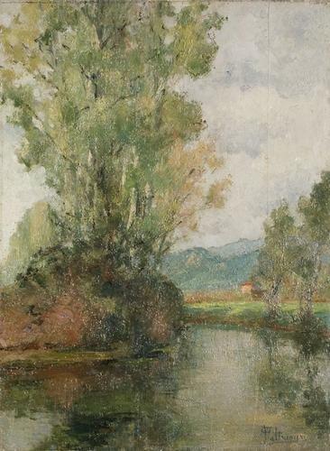 6C: Oreste Paltrinieri (1873-?) Paesaggio fluviale nel