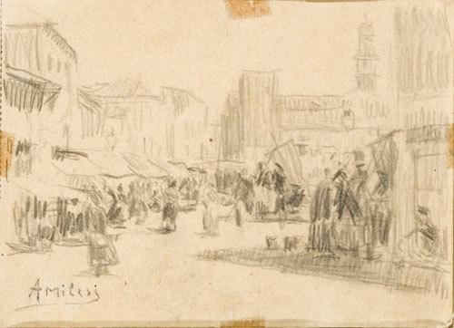 15C: Alessandro Milesi (1856-1945)   Mercato a Venezia