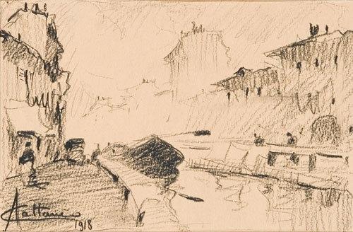 16C: Achille Cattaneo (1872-1931) Milano, il Naviglio