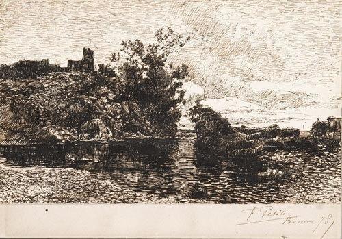 17C: Filiberto Petiti (1845-1924) Paesaggio della campa