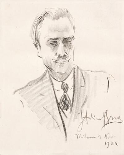 19C: Italico Brass (1870-1943) Ritratto d'uomo con crav