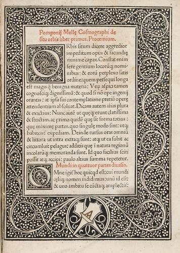 21D: Mela, Pomponio. Cosmographia, sive de situ orbis.