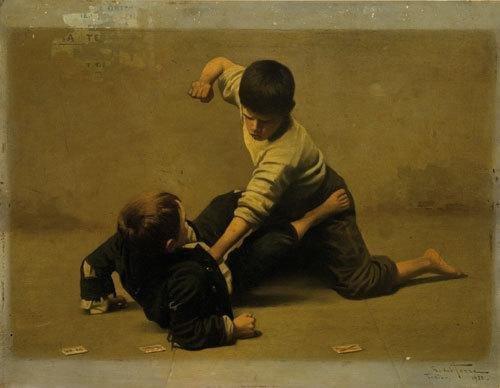 7: Giulio Del Torre (1856-1932) Lotta di fanciulli