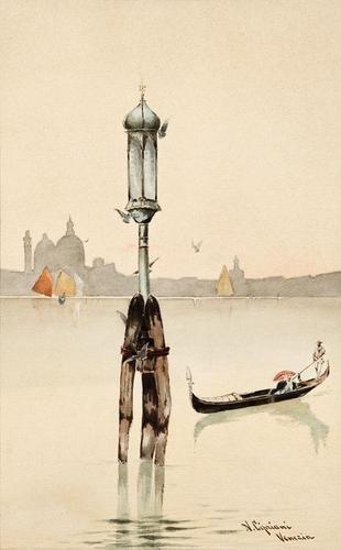 12: Nazareno Cipriani (1843-1923) Venezia, gondola e v