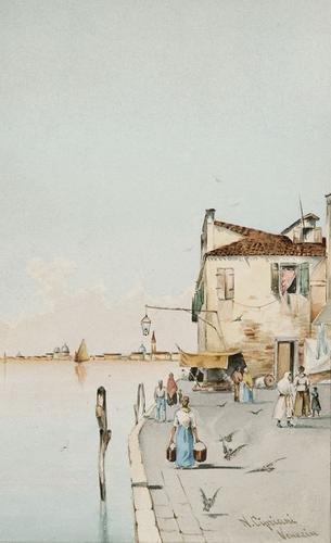 13: Nazareno Cipriani (1843-1923) Scena di Vita a Vene