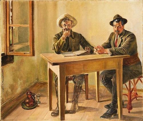 111: Jacek Malczewski (1854-1929) Due uomini in interno