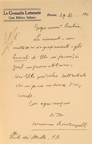 4: Bontempelli, Massimo. Lettera autografa firmata.