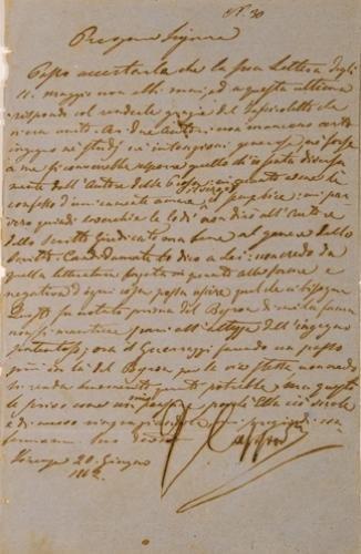 7: Capponi, Gino. Lettera autografa firmata.
