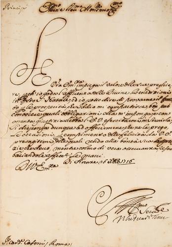 16: Cosimo III de' Medici. Lettera autografa firmata.