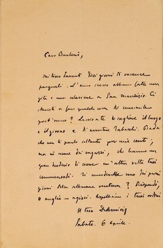 18: De Amicis, Edmondo. Lettera autografa firmata