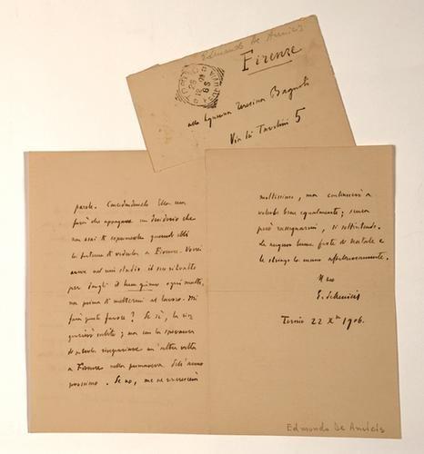 19: De Amicis, Edmondo. Lettera autografa firmata e st
