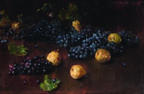 4: Luigi Serralunga (1880-1940) natura morta con uva