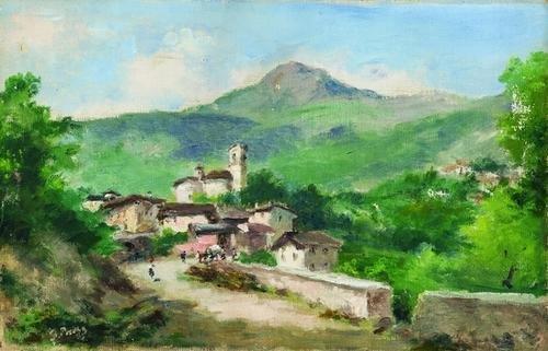 8: Silvio Poma (1841-1932)  Veduta di borgo montano