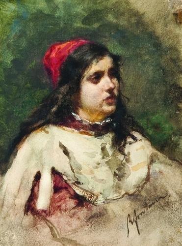 12: Roberto Fontana (1844-1907) Giovane ragazza con ca
