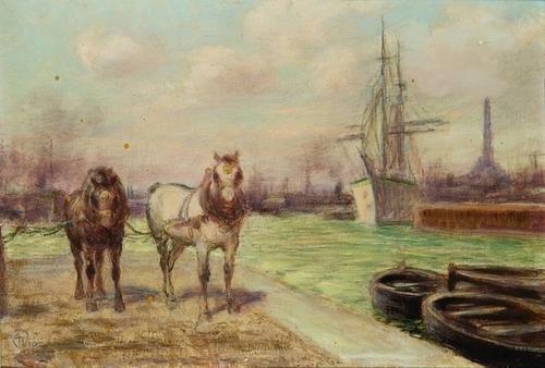 17: Alessandro Viazzi (1872-1956)  Due cavalli al port