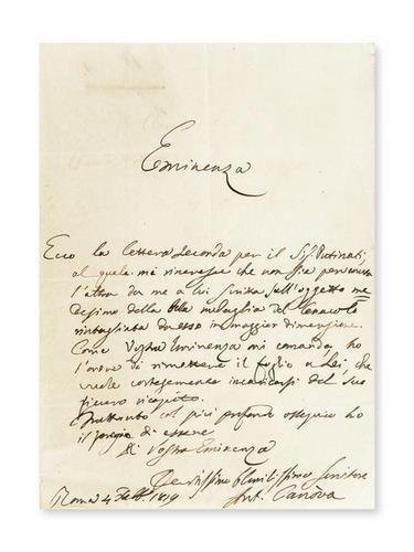 5: Canova, Antonio. Lettera autografa firmata.