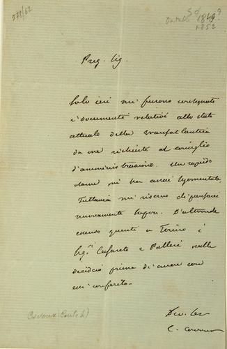 9: Cavour, Camillo Benso Conte di. Lettera autografa