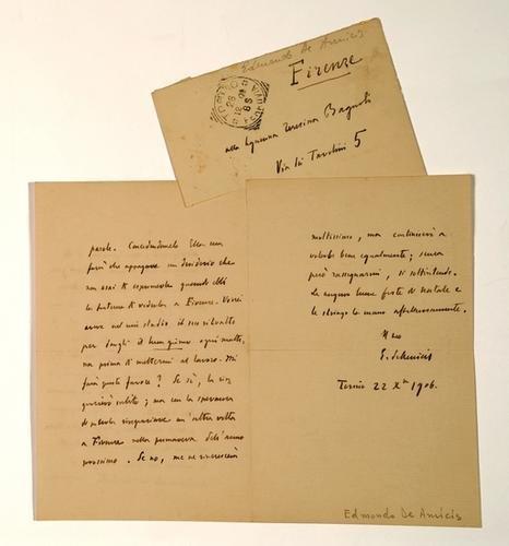 15: De Amicis, Edmondo. Lettera autografa firmata e st