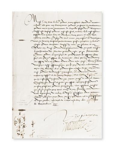 22: Francia - Conte di Montmerency. Lettera con firma