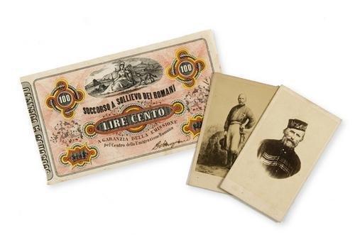 24: Garibaldi, Giuseppe. Banconota firmata, foto e sta