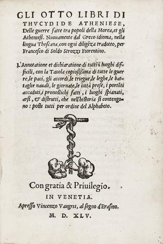 396: Storia - Tucidide. Gli otto libri... delle guerre