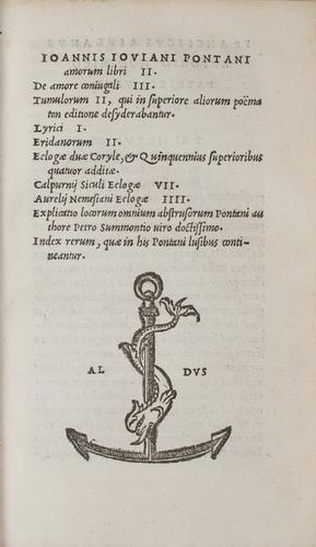 8: Aldina - Pontano, Giovanni Gioviano.  Amorum libri