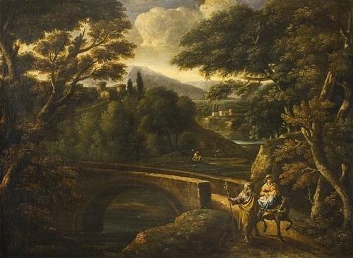 """1: """"Scuola romana, secolo XVII"""" """"Paesaggio con la fug"""